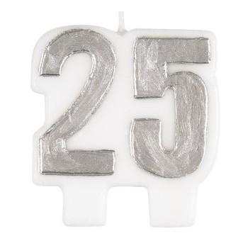 Candelina Argento 25° Anniversario H. 7 cm.