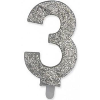 Candelina Glitter Argento 3 H. 9 cm.