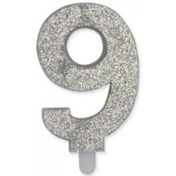 Candelina Glitter Argento 9 H. 9 cm.
