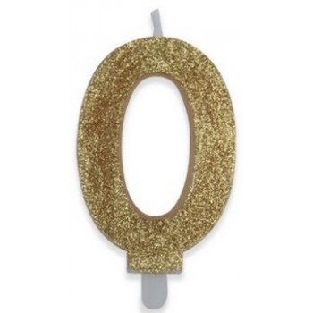 Candelina Glitter Oro 0 H. 9 cm.