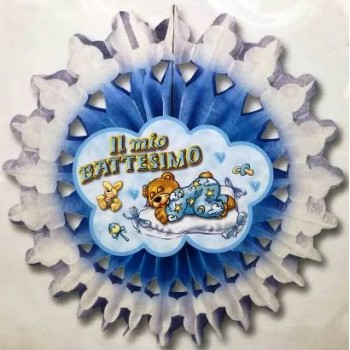 Festone Battesimo Bambino, ruota celeste 045 cm