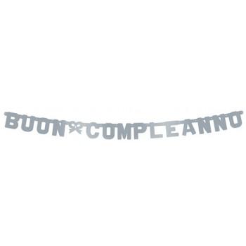 Festone Buon Compleanno Argento, Extra Large 265 cm.
