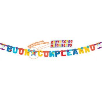 Festone Buon Compleanno, XL personalizzabile, 250 x 150 cm.
