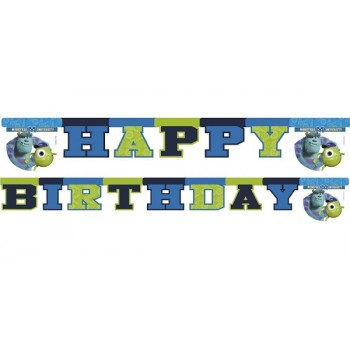 Festone Happy Birthday, cartoons Monsters, bandierine cartone 2,15 mt