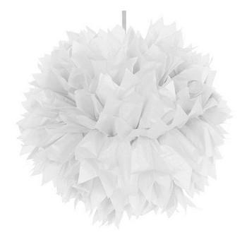Pom pom Bianco in carta 30 cm.