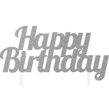 00 - Cake Topper Standard Happy birthday glitterato Argento cm 17,7 x 15,2