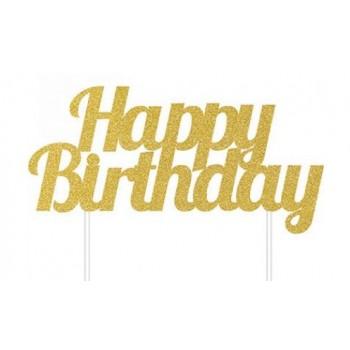 00 - Cake Topper Standard Happy birthday glitterato Oro cm 17,7 x 15,2