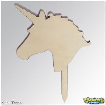 03 - Cake Topper legno grezzo - Unicorno personalizzabile. cm 10 X h.15