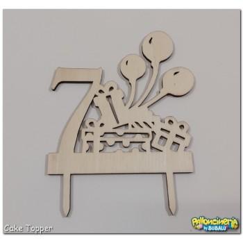 06 - Cake Topper legno grezzo - Numero e palloncini personalizzabile. cm 15 X h.15