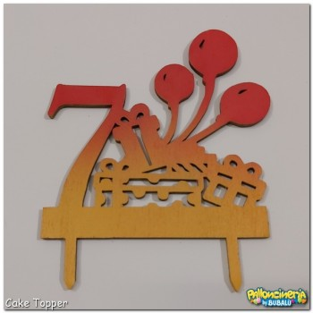 15 - Cake Topper legno decorato - Numero e palloncini personalizzabile. cm 15 X h.15