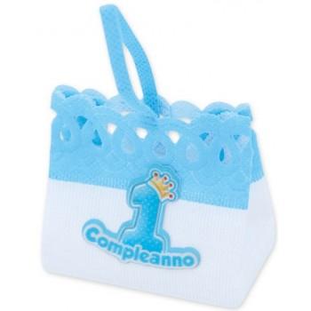 Pesetti per palloncini 1° Compleanno Bambino, sacchettino Azzurro in stoffa - 8 x 7 cm