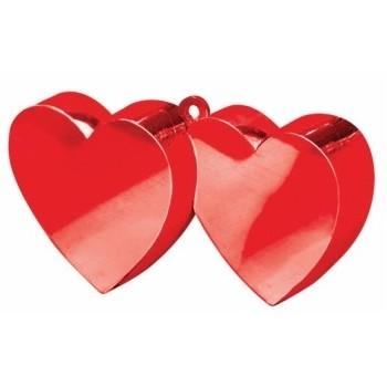 Pesetti per palloncini Amore, doppio cuore rosso