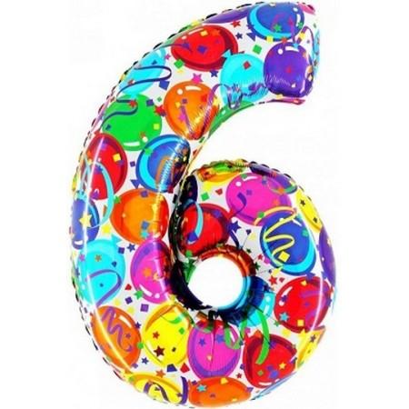 Palloncino Mylar Numero Maxi Multicolor 6 - 100 cm.