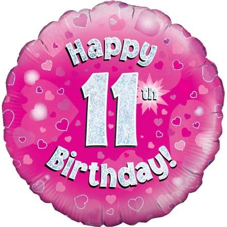 Palloncino Mylar 45 cm. 11° Birthday Pink Holographic Oaktree Foil Balloon