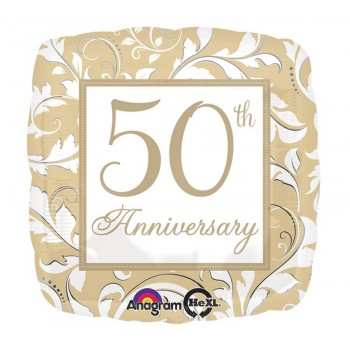 Palloncino Mylar 45 cm. 50° Anniversary Gold Elegant Scroll