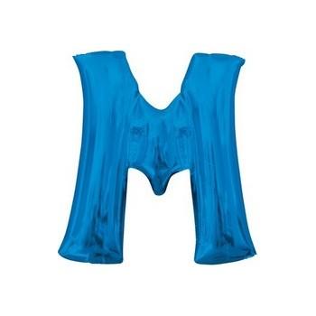 Palloncino Mylar Lettera M Media - 40 cm. Blu Anagram