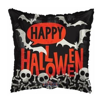 Palloncino Mylar 45 cm. Happy Halloween Scheletri Quadrato