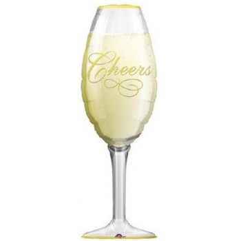 Palloncino Mylar Super Shape 96 cm. Champagne Glass
