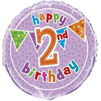 Palloncino Mylar 45 cm. Age 2° Polka Dot Birthday