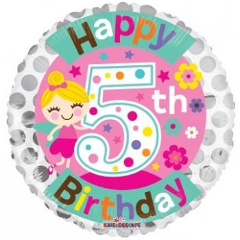 Palloncino Mylar 45 cm. Age 5° Birthday Girl