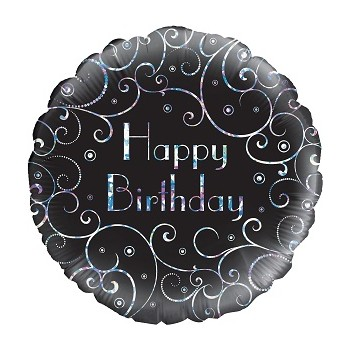 Palloncino Mylar 45 cm. R - Birthday Black Swirls Holographic