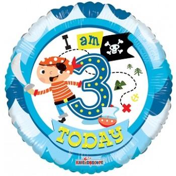 Palloncino Mylar 45 cm. Age 3° Birthday Boy