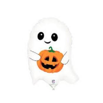 Palloncino Mylar Mini Shape 23 cm. Halloween Fantasmino/Zucca