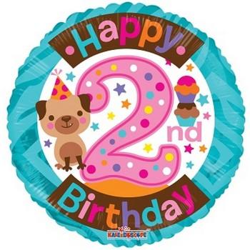 Palloncino Mylar 45 cm. Happy Birthday Blue Dazzeloon