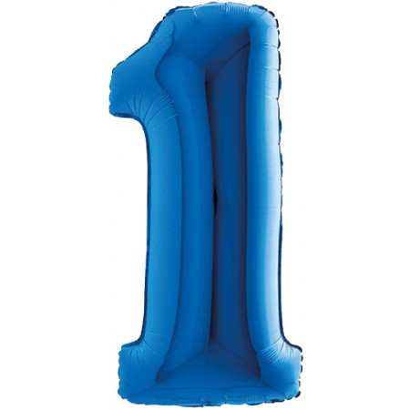 Palloncino Mylar Numero 9 Maxi - color Blu - 100 cm.