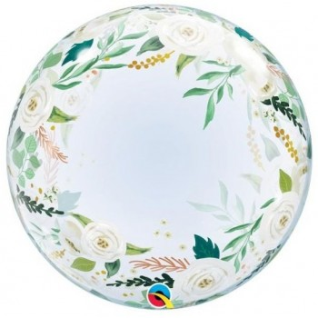 Palloncino in Lattice Mongolfiera 80 cm. Bianco - Round