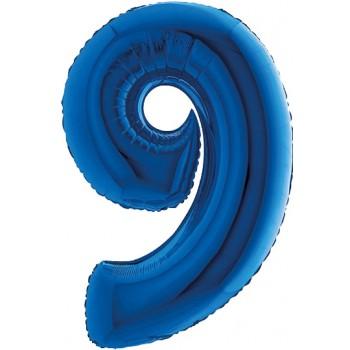 Palloncino Mylar Numero 9 Medio - color Blu - 41 cm.