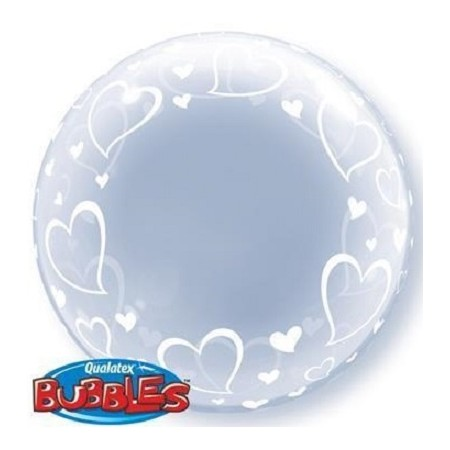 Palloncino Bubble Stylish Hearts 61 cm.