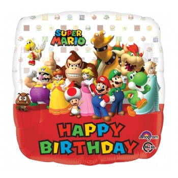 Palloncino Mylar 45 cm. Happy Birthday Mario Bros