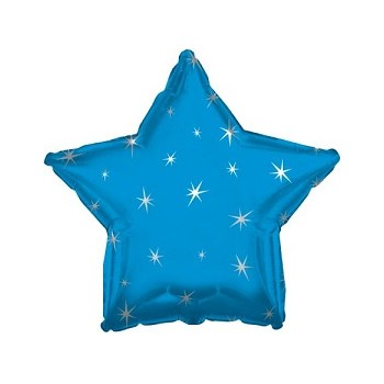 Palloncino Mylar 45 cm. Power Blue Sparkle Star Foil