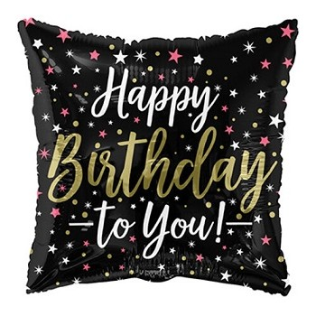 Palloncino Mylar 45 cm. Birthday Black Square