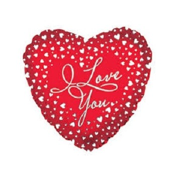 Palloncino Mylar 45 cm. I Love You Heart Cascades