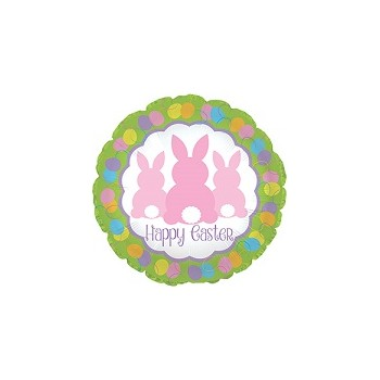Palloncino Mylar Mini Shape 22 cm. Happy Easter 3 Bunny Backs