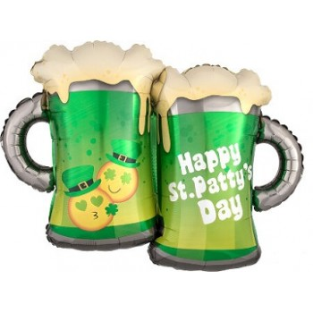 Palloncino Mylar Super Shape 66 cm. St. Patty's Emoticon Mugs