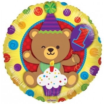 Palloncino Mylar 45 cm. 1° Birthday Bear