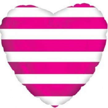 Palloncino Mylar 45 cm. Hot Pink Stripes