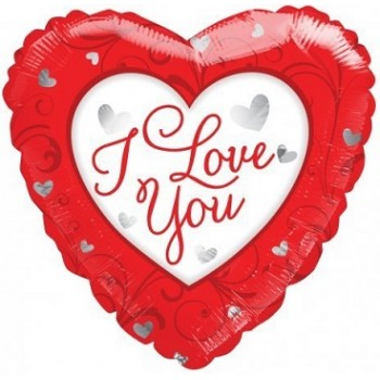 Palloncino Mylar 45 cm. I Love You Red / White