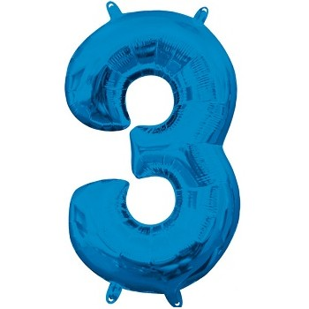 Palloncino Mylar Numero 3 Medio - color Blu - 41 cm.