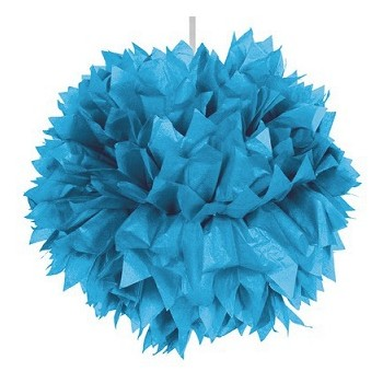 Pom pom Turchese in carta 30 cm.