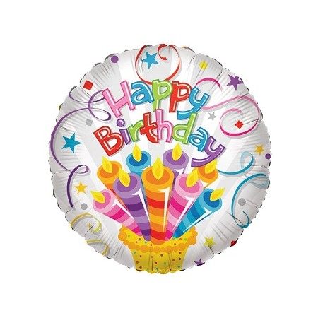Palloncino Mylar 45 cm. Cake With Candles Birthday