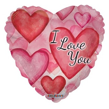 Palloncino Mylar 45 cm. I Love You Watercolor Hearts