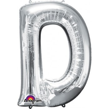 Palloncino Mylar Lettera D Maxi Anagram - 86 cm. Argento