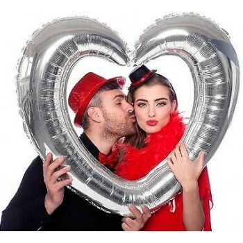 Palloncino Mylar Supershape 80 x 75 cm Cuore Photo Booth Argento