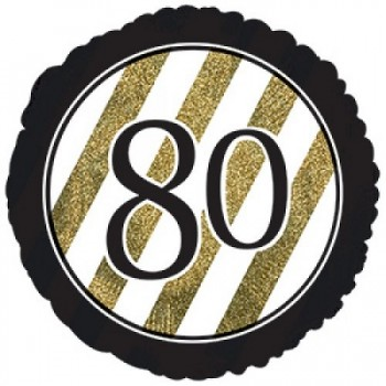 Palloncino Mylar 45 cm. 80° Black & Gold Glitter