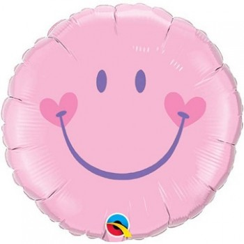 Palloncino Mylar 45 cm. Sweet Smile Face Rosa