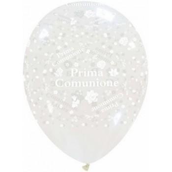 Confezione composta da pallone a tema trasparente ripieno di palloncini e nastri di rifinitura e grappolo di 7 palloncin